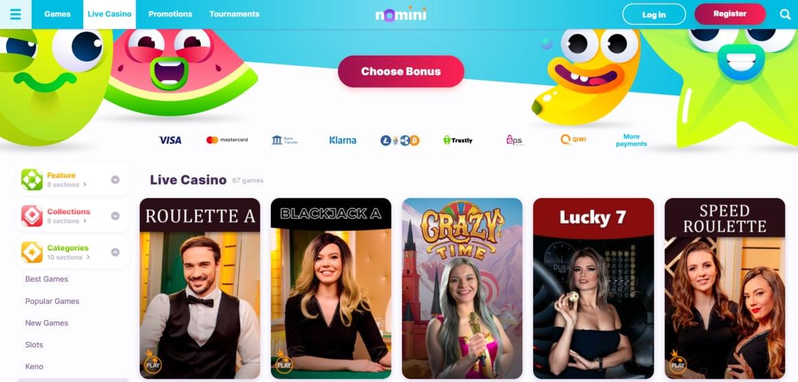 Nomini Casino Live Dealer Games