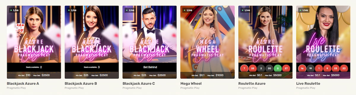 JustSpin Casino Table Games