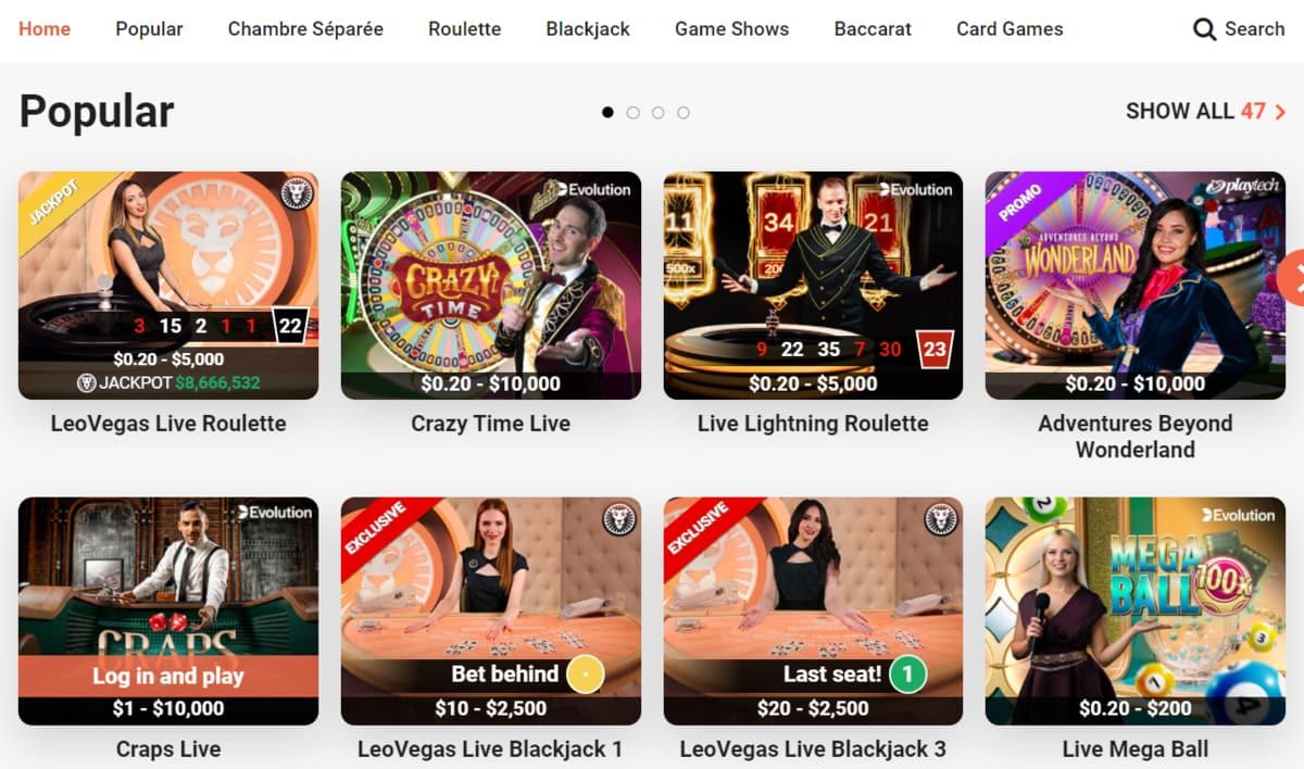 LeoVegas Casino Table Games
