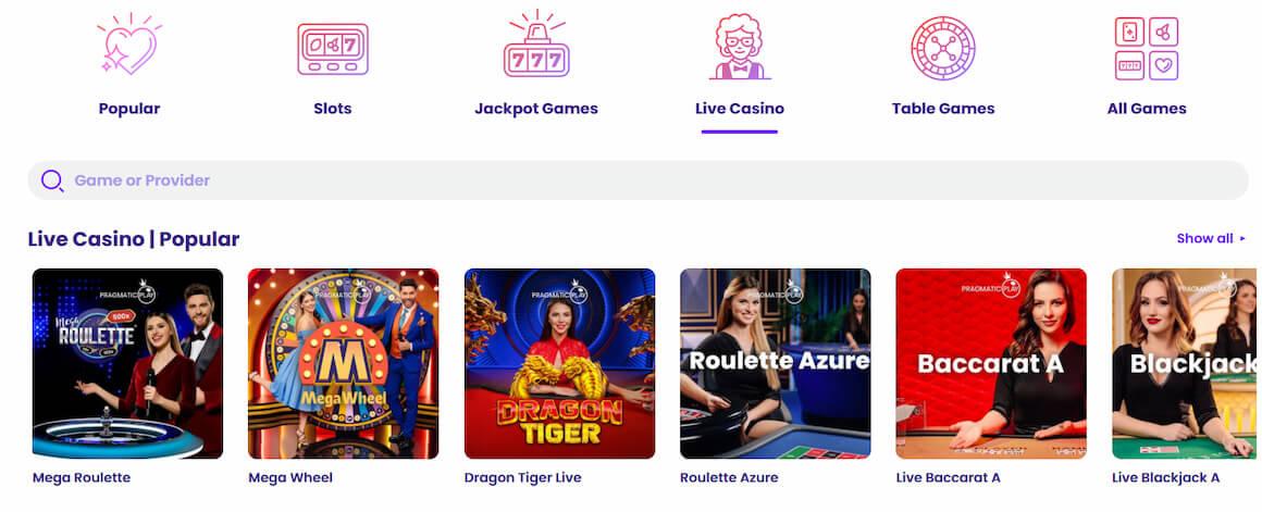 Wildz Casino Live Table games